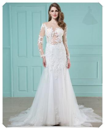 Suknia ślubna koronkowa model klasyczny
